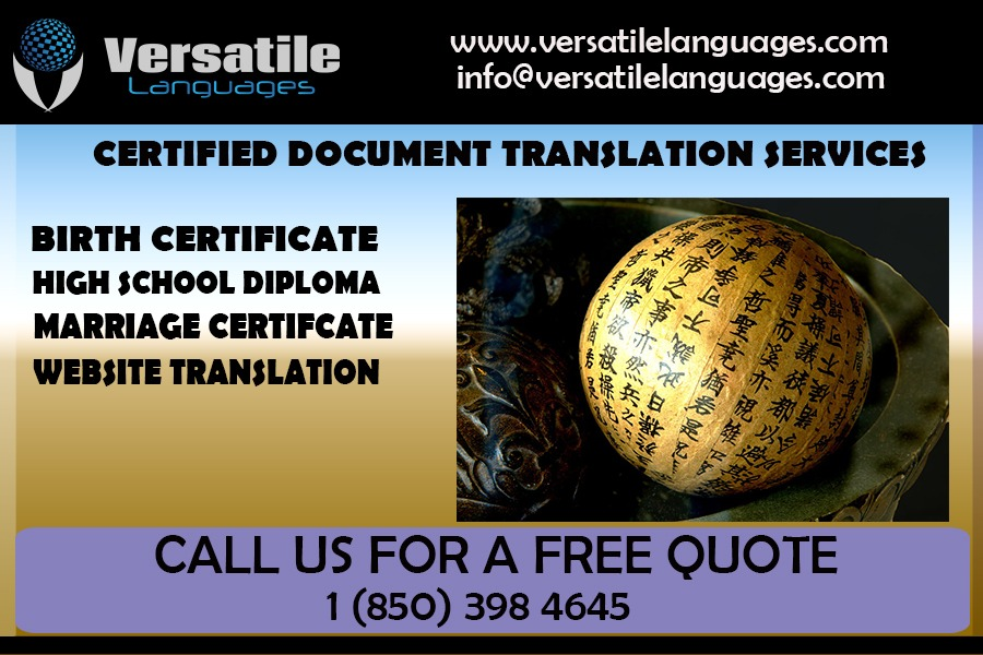 Chinese certified translations for Valencia College